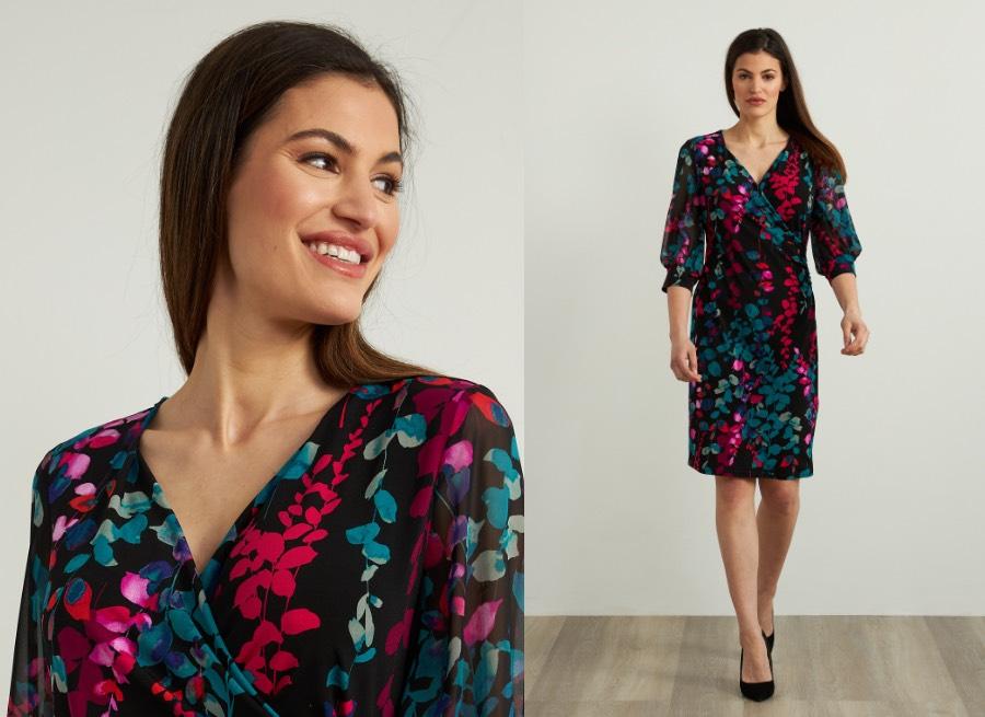 Joseph Ribkoff Floral Chiffon Dress Style 213414