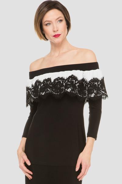 Joseph Ribkoff Black/Offwhite Shirts & Blouses Style 191259
