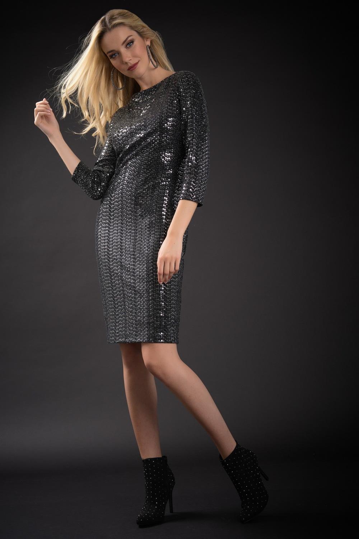 Joseph Ribkoff Silver Dresses Style 184543