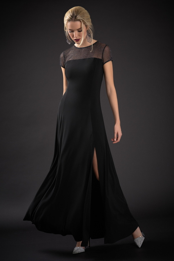 Joseph Ribkoff Black/Silver Dresses Style 184550