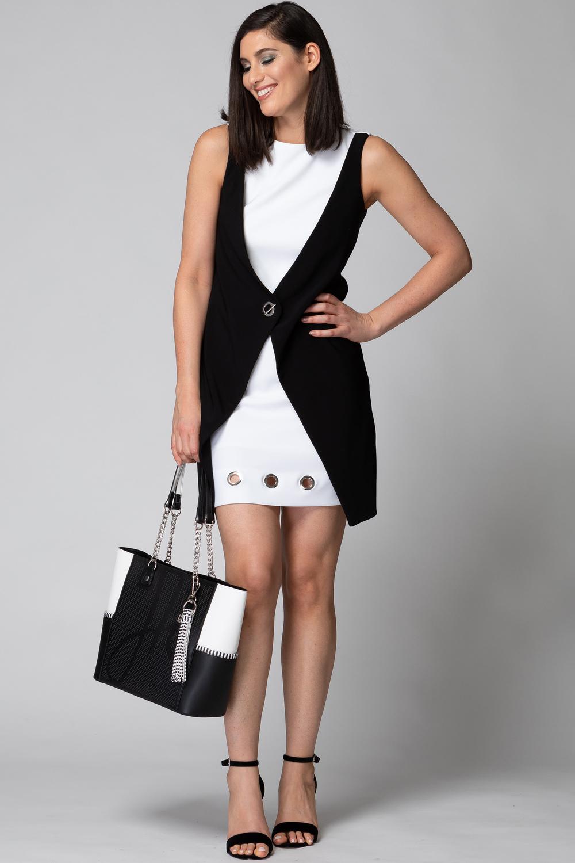 Joseph Ribkoff Black/Vanilla Dresses Style 192060