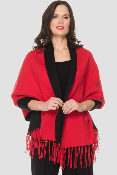 Joseph Ribkoff Black/Red Ponchos & Capes Style 193950