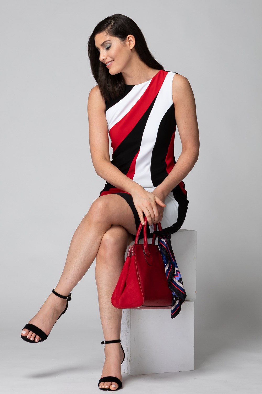 Joseph Ribkoff Robes Noir/Rouge à Lèvres/Vanille Style 193003