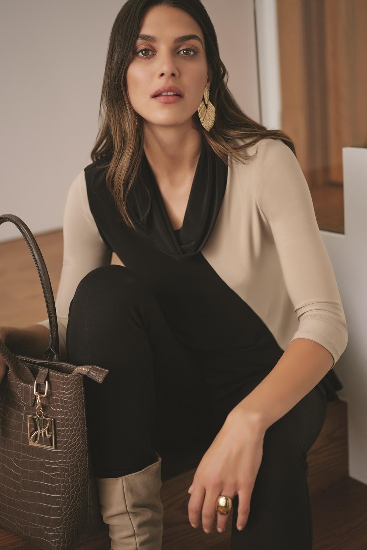 Joseph Ribkoff Chemises et blouses Noir/Cappuccino Style 193142