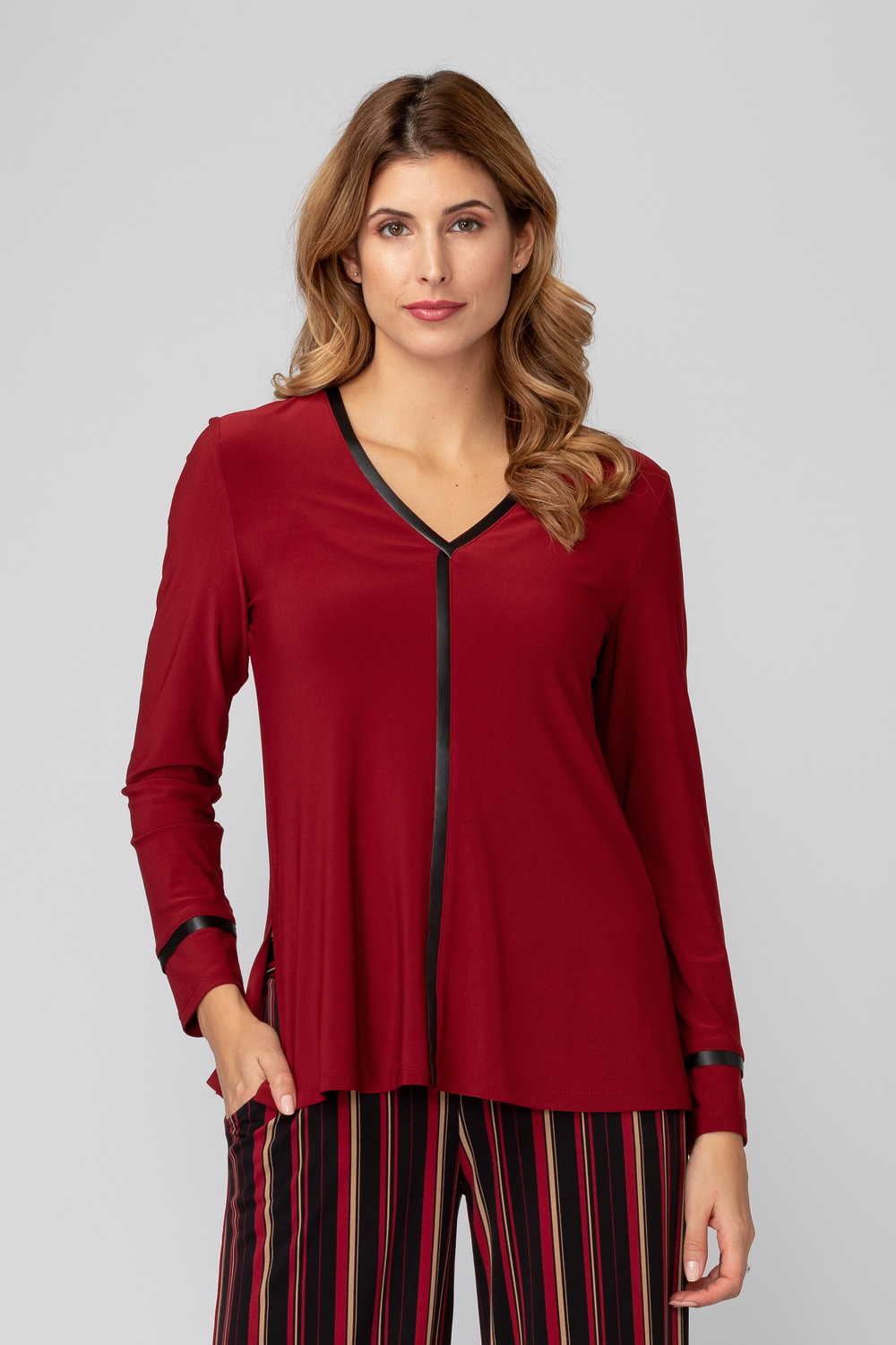 Joseph Ribkoff IMPERIAL RED/BLACK Tees & Camis Style 193160