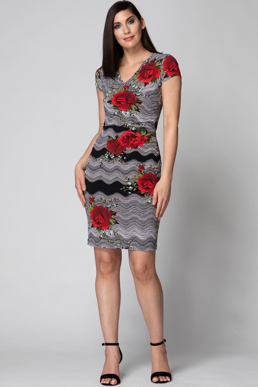 Joseph Ribkoff Black/Red Dresses Style 193687