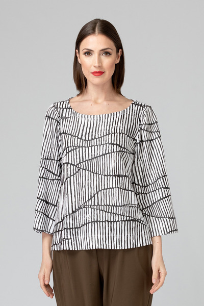 Joseph Ribkoff White/Black Shirts & Blouses Style 193836