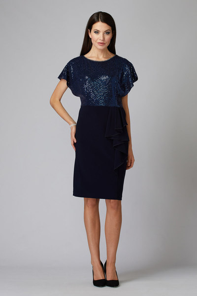 Joseph Ribkoff Robes Bleu Minuit/Royal/Bleu Style 194543
