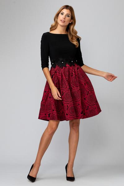 Joseph Ribkoff Robes Noir/Rouge Style 194753