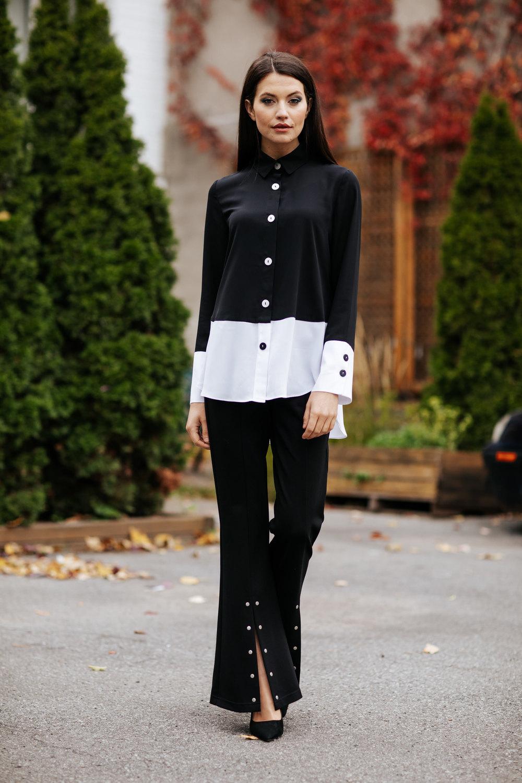 Joseph Ribkoff Black/Off-white Shirts & Blouses Style 201173