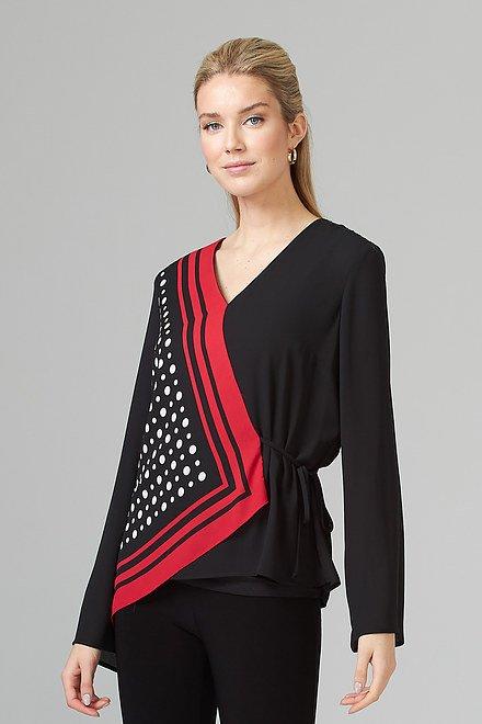 Joseph Ribkoff Chemises et blouses Noir/Vanille/Rouge A Levres Style 201238