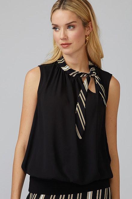 Joseph Ribkoff Black/White/Gold Shirts & Blouses Style 201275