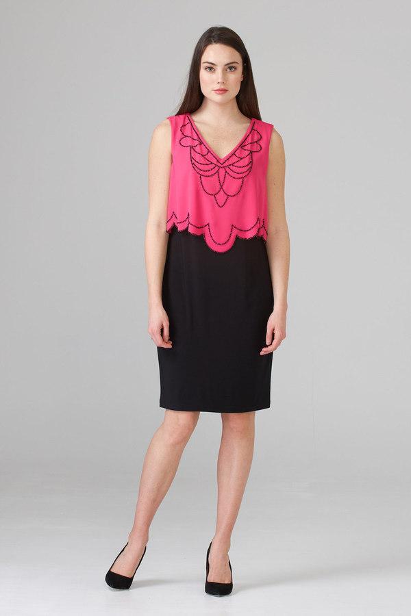 Joseph Ribkoff Robes Noir/Rose Vif Style 201361