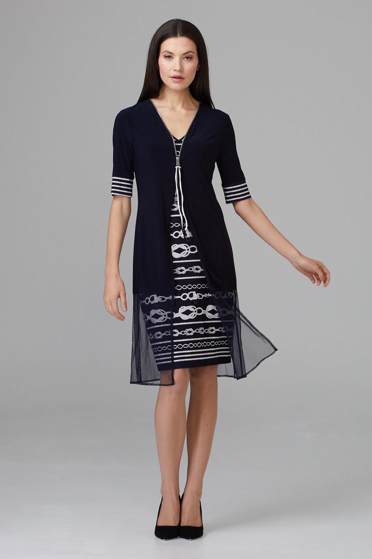 Joseph Ribkoff Midnight Blue/Vanilla Dresses Style 201365