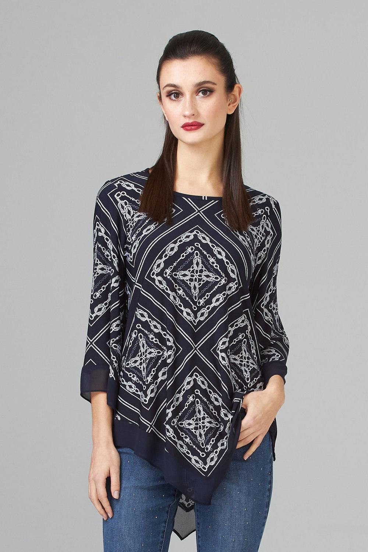 Joseph Ribkoff Chemises et blouses Vanille/Bleu Minuit Style 201432