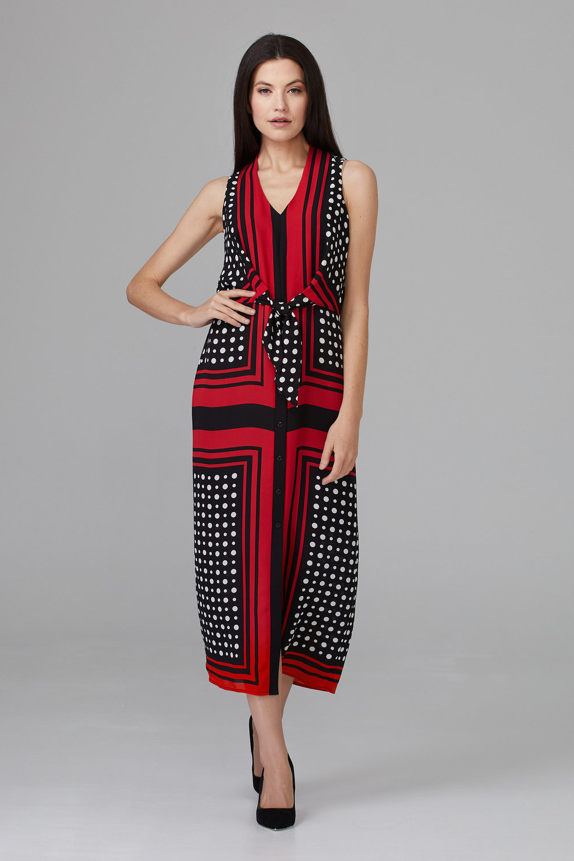 Joseph Ribkoff Robes Noir/Vanille/Rouge A Levres Style 201462