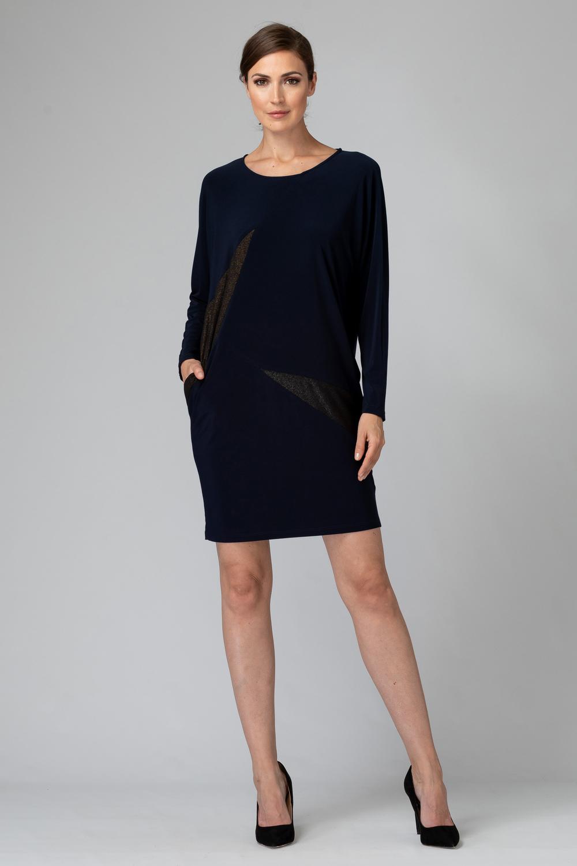 Joseph Ribkoff MIDNIGHT BLUE / GOLD Dresses Style 194017