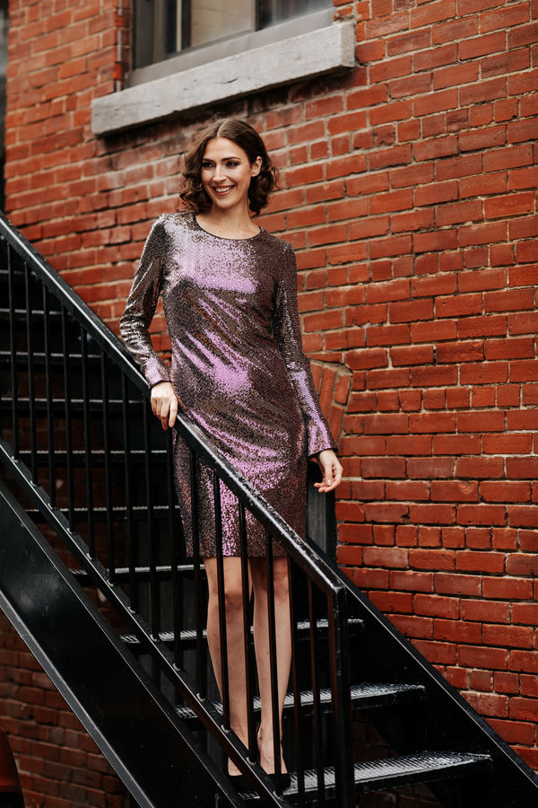 Joseph Ribkoff BLACK/ROSE GOLD Dresses Style 194538