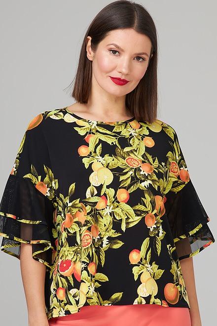 Joseph Ribkoff Black/Multi Shirts & Blouses Style 202158