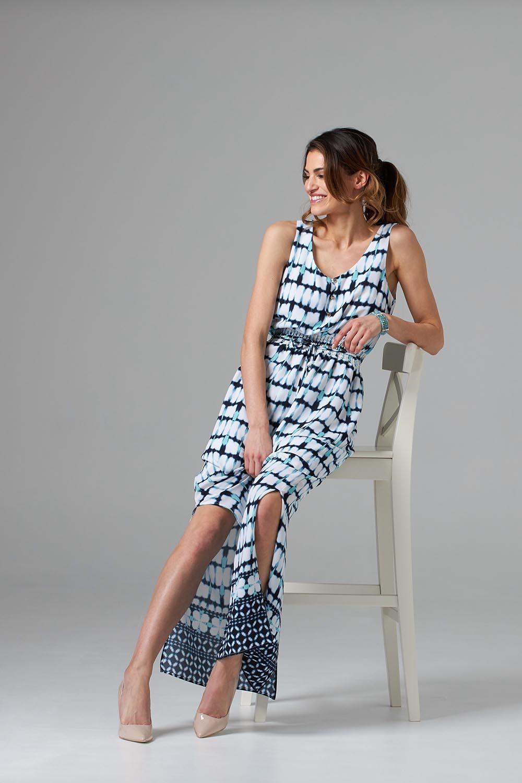Joseph Ribkoff Vanilla/Midnight Blue Dresses Style 202218