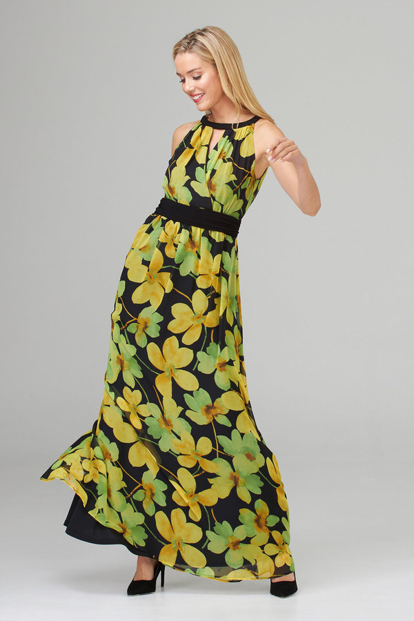 Joseph Ribkoff Robes Noir/Jaune Style 202430