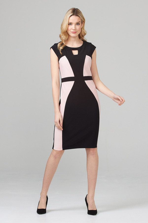 Joseph Ribkoff robe style 201156. Noir/Rosé