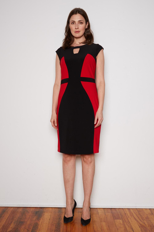 Joseph Ribkoff Black/Lipstick Red Dresses Style 201156