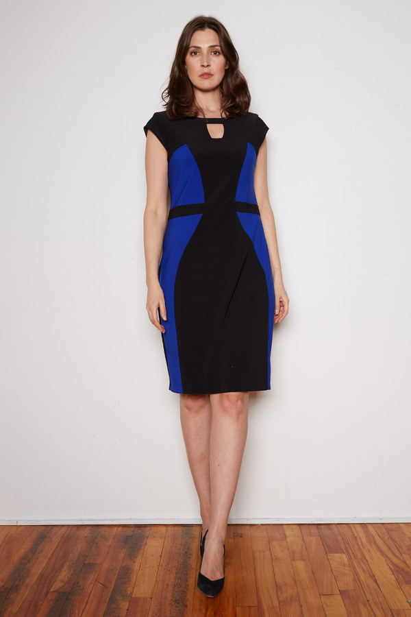 Joseph Ribkoff Black/Royal Sapphire Dresses Style 201156