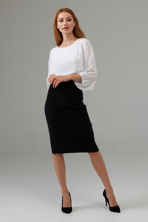 Joseph Ribkoff Balloon sleeve round neck Dress style 203121. Black/Vanilla
