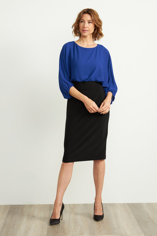 Joseph Ribkoff Robes Noir/Saphir Royale Style 203121