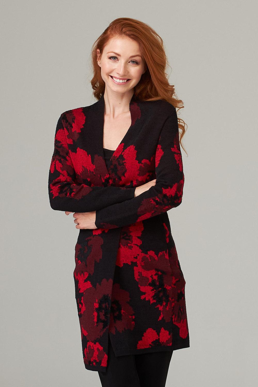 Joseph Ribkoff Black/Red Cardigans Style 203134