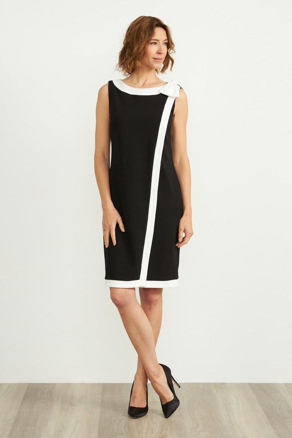 Joseph Ribkoff Sleeveless Shift Dress Style 203146. Black/Vanilla