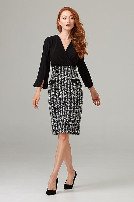 Joseph Ribkoff Robes Noir/Blanc Cassé Style 203243
