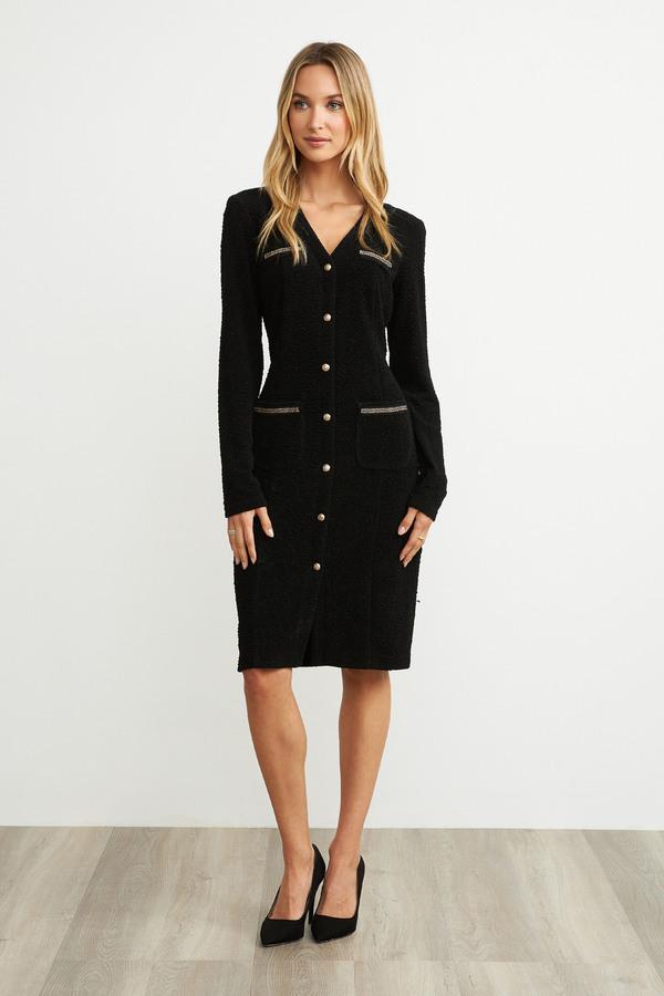 Joseph Ribkoff Button Dress Style 203252. Black