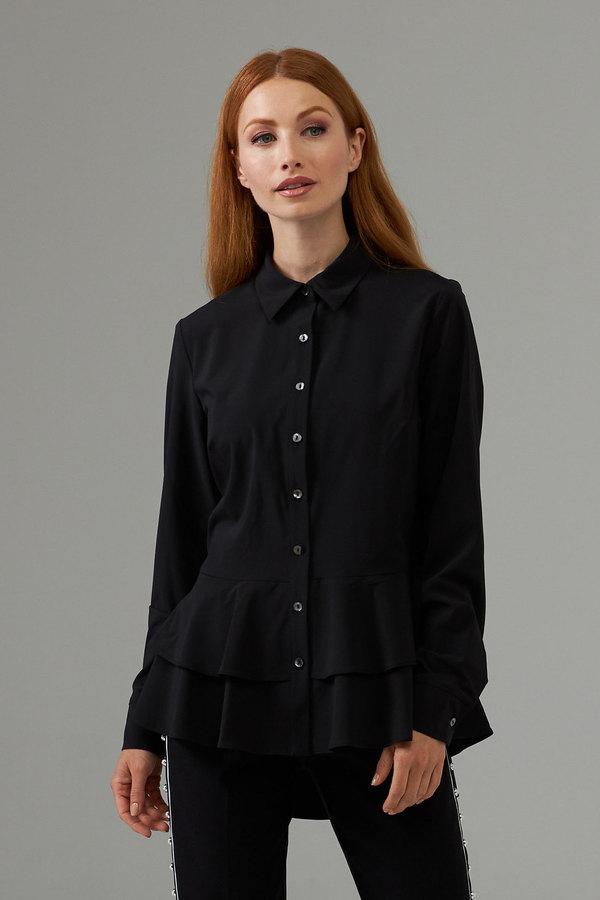 Joseph Ribkoff Peplum layered waist button top style 203305. Black