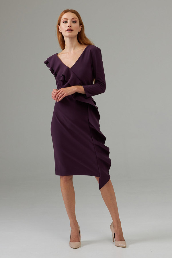 Joseph Ribkoff Side frilled long sleeved dress style 203336. Amethyst