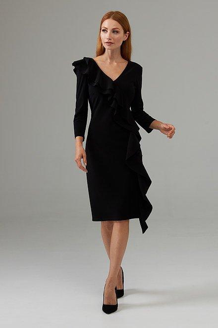 Joseph Ribkoff Side frilled long sleeved dress style 203336