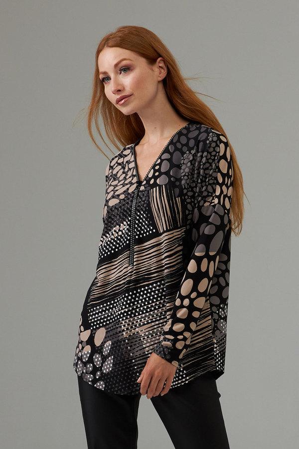 Joseph Ribkoff Front zip dotted top style 203368. Black/Beige