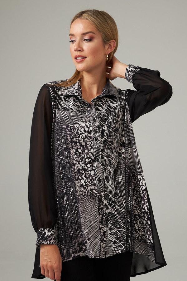Joseph Ribkoff Sheer Sleeved Blouse Style 203405. Black/Vanilla