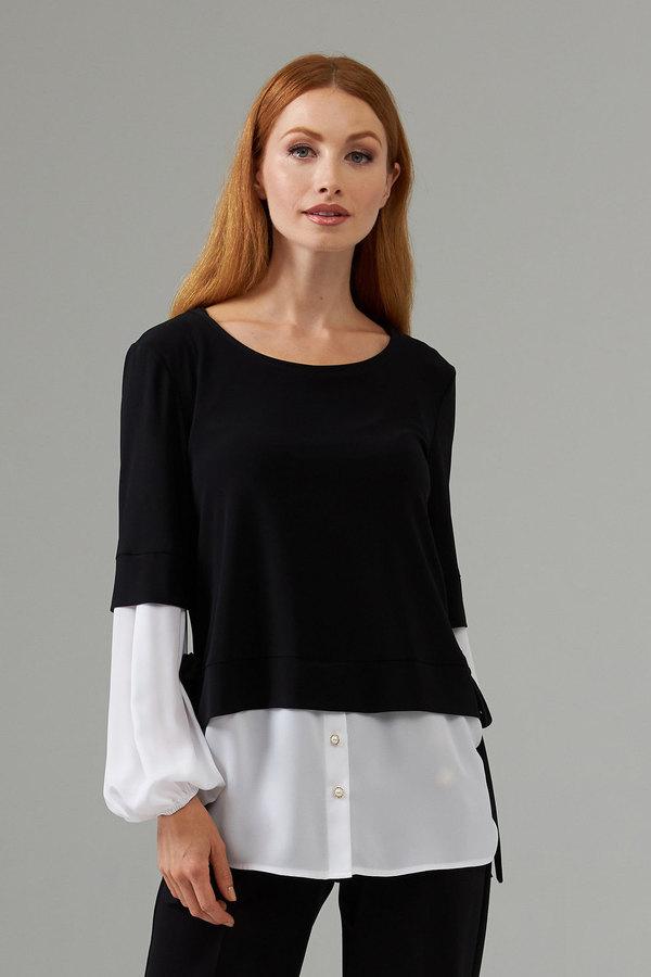 Joseph Ribkoff two-tone overlay top style 203455. Black/Off White