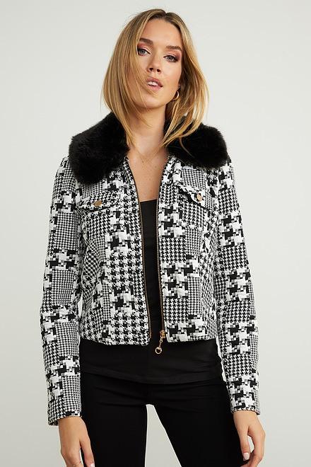 Joseph Ribkoff Faux Fur Trim Jacket Style 203529