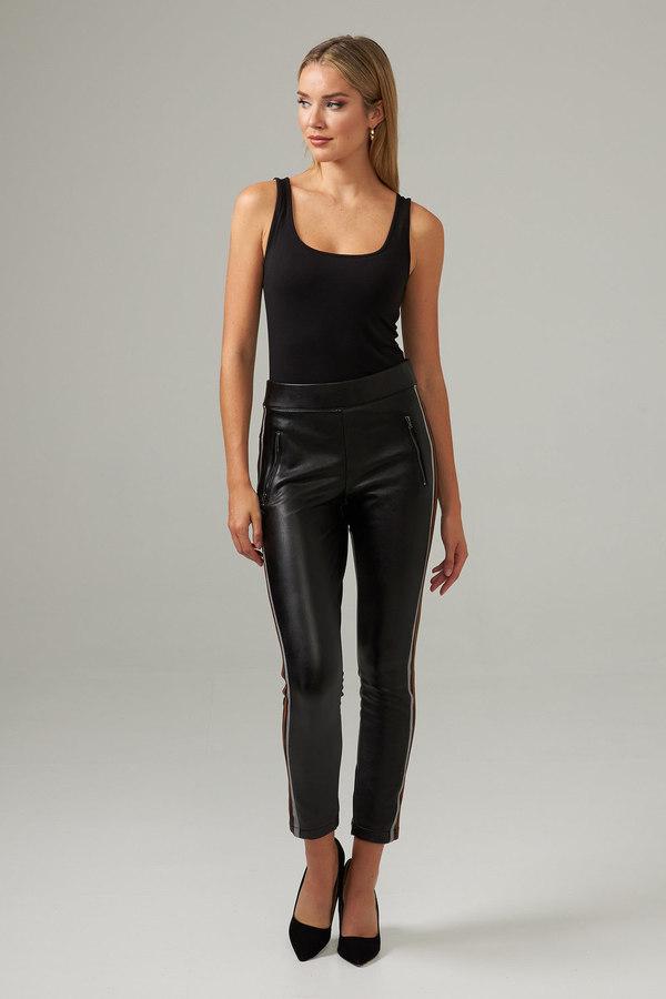 Joseph Ribkoff Striped Faux Leather Pants Style 203535. Black/Brown/Grey