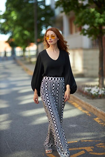Joseph Ribkoff Pantalons Noir/Vanille Style 203540