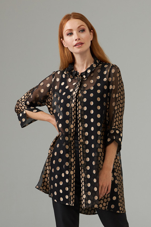 Joseph Ribkoff  spotted button blouse style 203545. Black/Gold