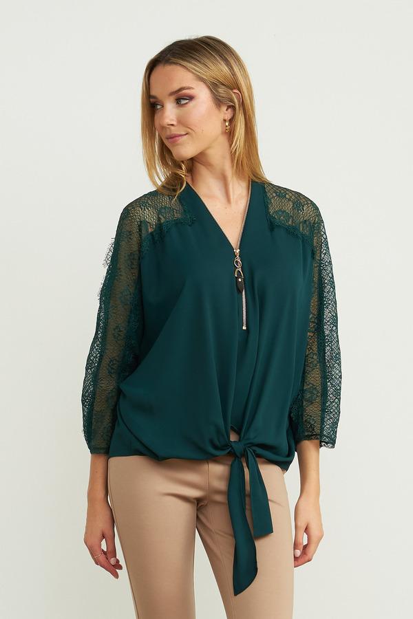 Joseph Ribkoff Lace Sleeve Top Style 203685. Pine