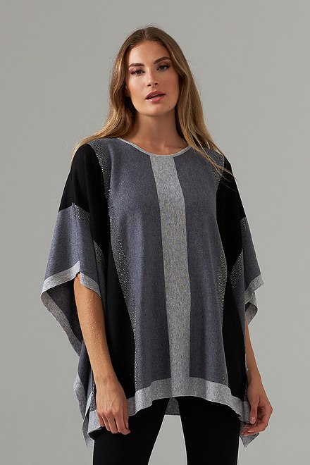 Joseph Ribkoff Grey/Black Ponchos & Capes Style 203556