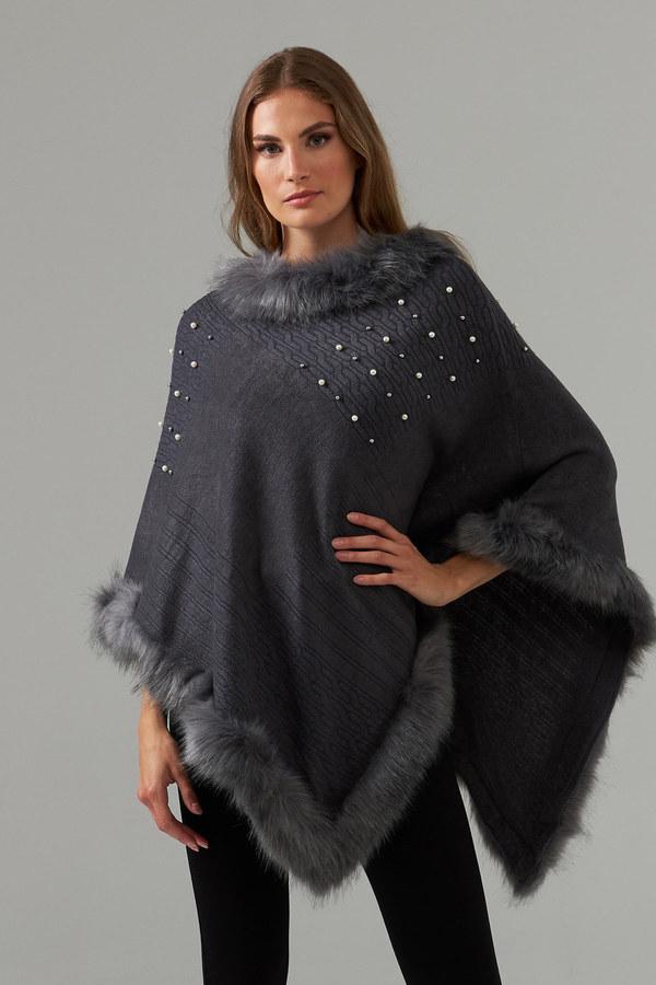 Joseph Ribkoff Poncho Style 203504. Charcoal Grey