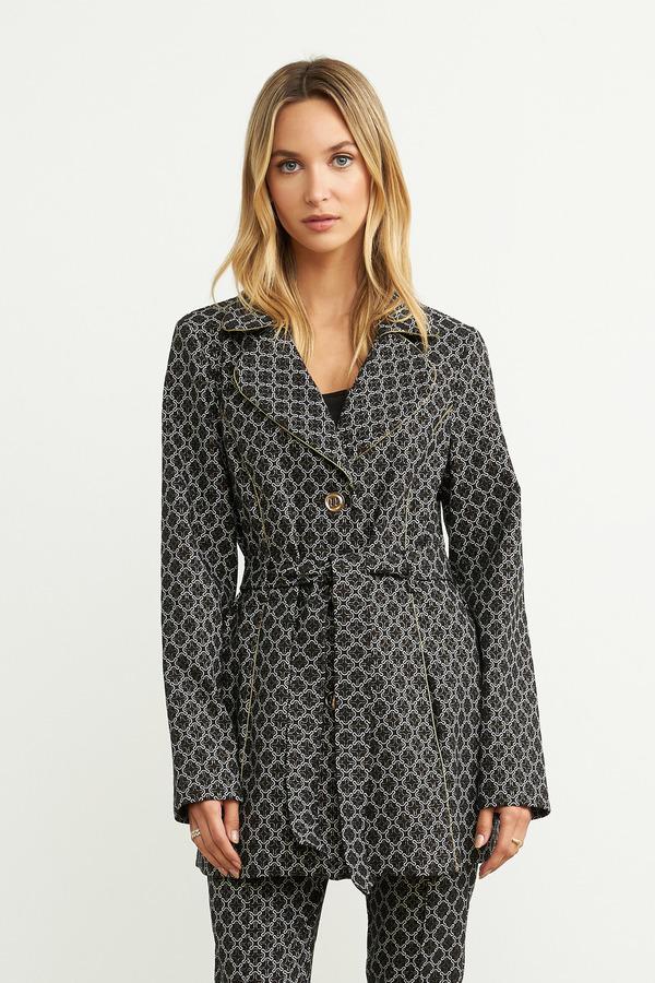 Joseph Ribkoff Belted Print Jacket Style 204057. Black/Ivory/Gold