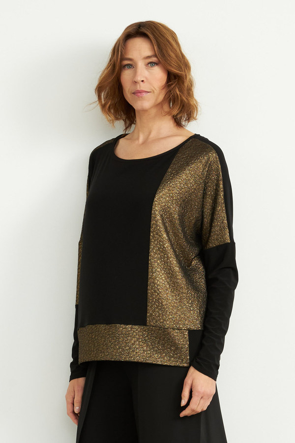 Joseph Ribkoff Colour-Blocked Top Style 204073. Black/Gold
