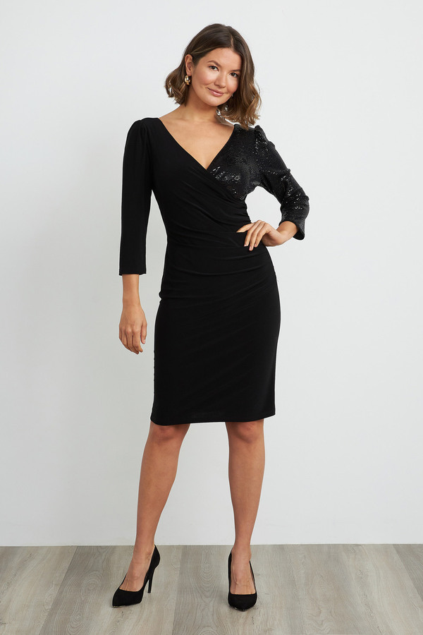 Joseph Ribkoff Sequin Long Sleeve Dress Style 204130. Black/Black